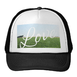 Love Script Typography Nature Grassy Meadow Cap