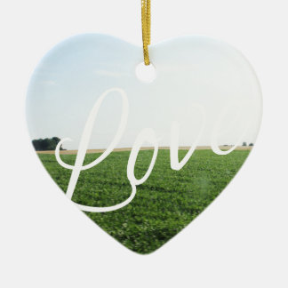 Love Script Typography Nature Grassy Meadow Ceramic Heart Decoration