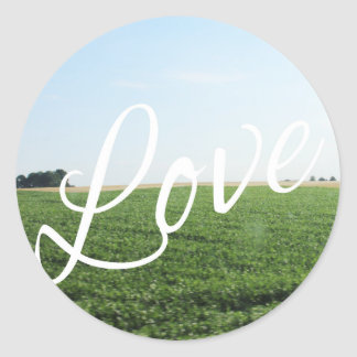 Love Script Typography Nature Grassy Meadow Classic Round Sticker