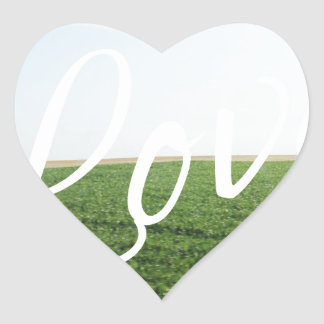 Love Script Typography Nature Grassy Meadow Heart Sticker