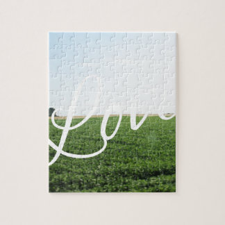Love Script Typography Nature Grassy Meadow Jigsaw Puzzle