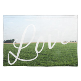 Love Script Typography Nature Grassy Meadow Place Mat