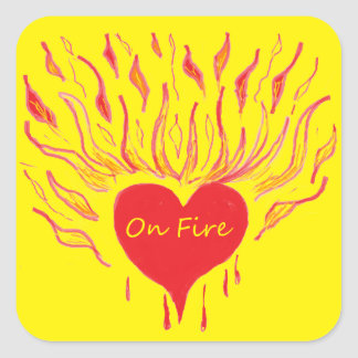 Love Sets a Heart on Fire Square Sticker