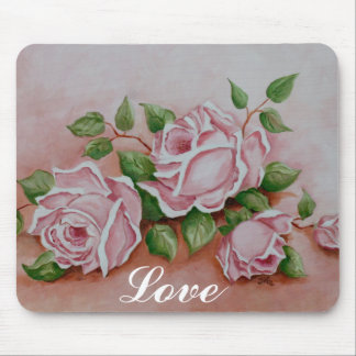 Love Shabby Chic  Vintage Rose Painting Mouse Pad