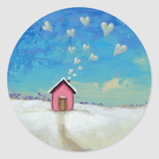 Love shack cabin fun romantic art Staying Warm Sticker