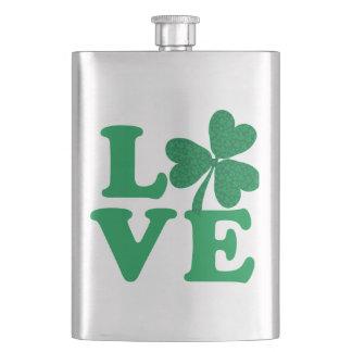 Love-Shamrock Hip Flask