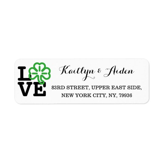 Love Shamrock Irish Clover Custom St Patricks Day Return Address Label