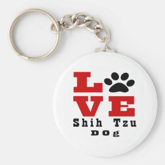 Love Shih Tzu Dog Designes Basic Round Button Key Ring