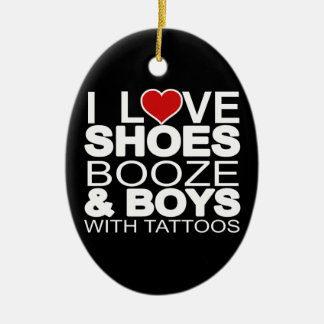 Love Shoes Booze Boys with Tattoos Ceramic Oval Decoration