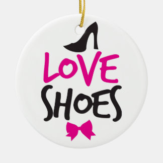 Love Shoes with cute little bow Round Ceramic Decoration