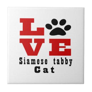 Love Siamese tabby Cat Designes Small Square Tile