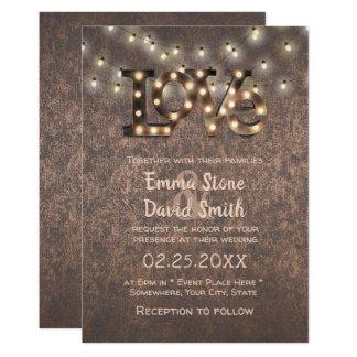 Love Sign String Lights Copper Industrial Wedding Card