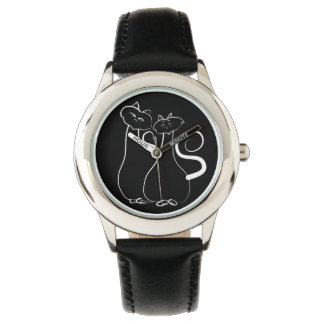 Love Sketch Cat Couple Simple Artistic Trendy Chic Watch