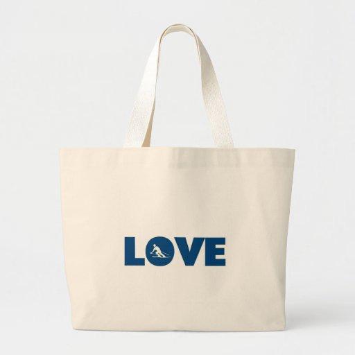 Love skiing tote bags