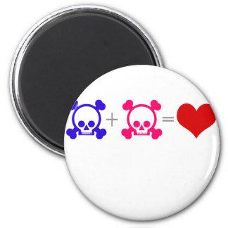 Love Skulls 6 Cm Round Magnet