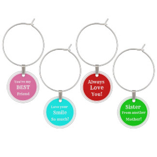 Love, Smile, etc. Girl Friends wine Charms