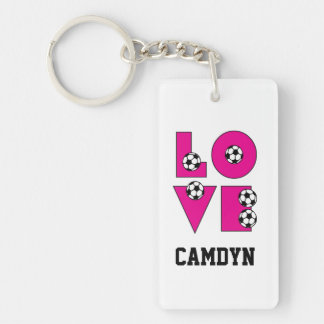 Love Soccer Pink Key Ring