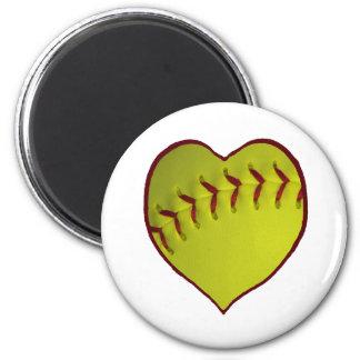 Love Softball 6 Cm Round Magnet