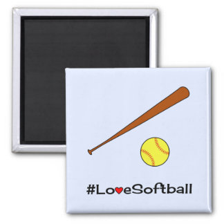 Love softball hashtag slogan sports square magnet