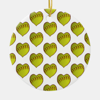 Love Softball Pattern Ceramic Ornament