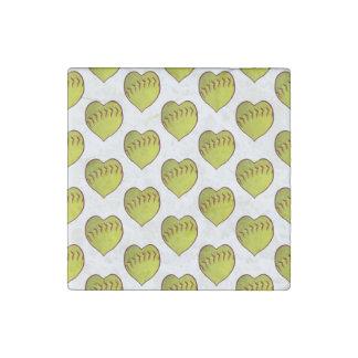 Love Softball Pattern Stone Magnet