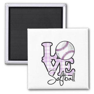 Love Softball Square Magnet