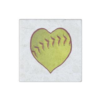 Love Softball Stone Magnet