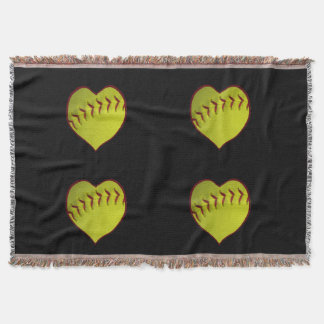 Love Softball Throw Blanket