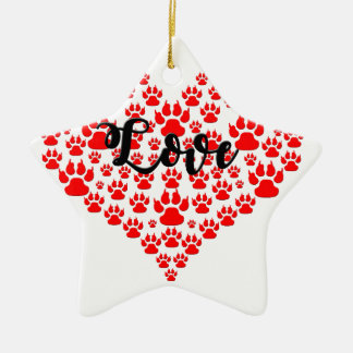 love solid red paw heart ceramic ornament