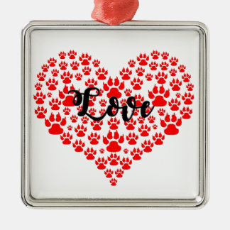 love solid red paw heart metal ornament