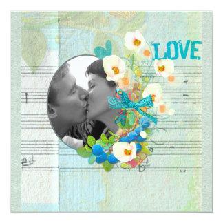 Love Song Photo Frame Scrapbook Style 13 Cm X 13 Cm Square Invitation Card