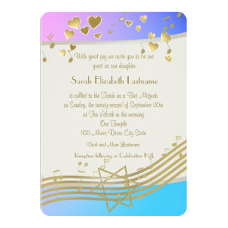 Love Songs Bat Mitzvah 13 Cm X 18 Cm Invitation Card