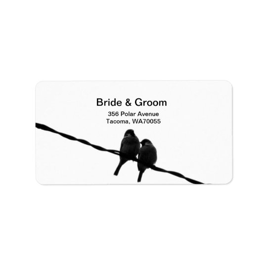 Love/Sparrows on Wire Wedding Label Address Label