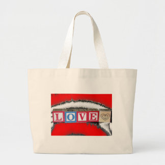 Love spelled out in Baby Block & red white crystal Jumbo Tote Bag