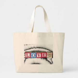 Love Spelled out in Baby Blocks in White Crystal Jumbo Tote Bag