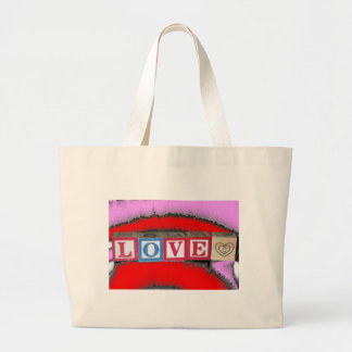 Love spelled out in baby blocks & red pink crystal jumbo tote bag