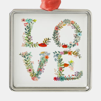 LOVE Spelled Out in Flowers Silver-Colored Square Decoration