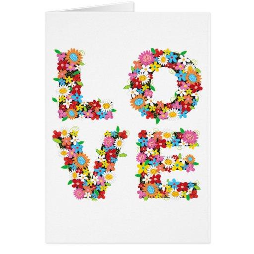 LOVE Spring Flowers Blank / Invitation Card