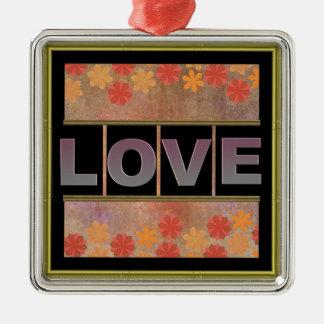 Love Square Metal Ornament