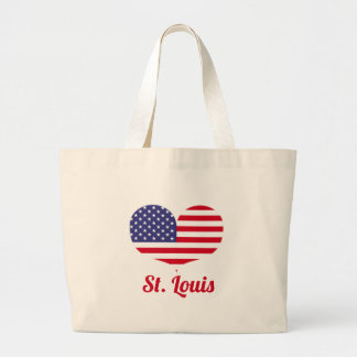 Love St. Louis | Heart Shaped American Flag Large Tote Bag