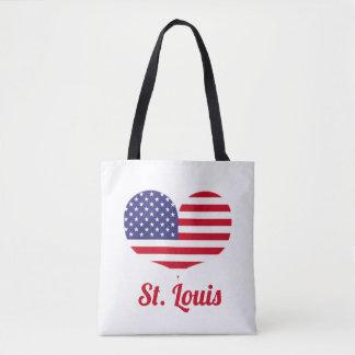 Love St. Louis| Heart Shaped American Flag Tote Bag