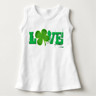 LOVE ST. PATRICK'S DAY BABY GIRL DRESS CLOVER