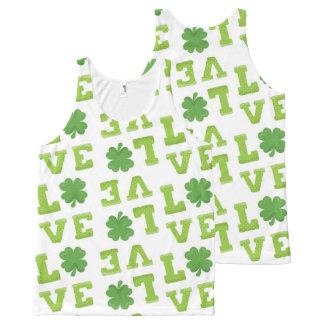 Love St Patrick's Day Clover All-Over Print Singlet
