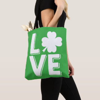Love St. Patrick's Day Cute Green Shamrock Tote Bag