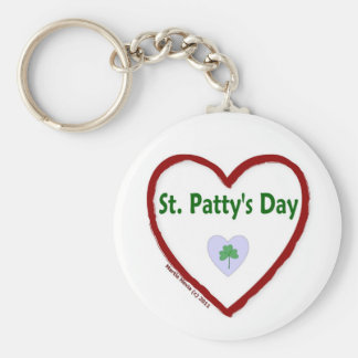 Love St. Patty's Day Basic Round Button Key Ring