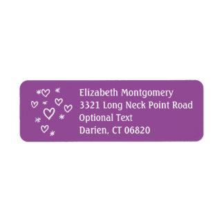 Love & Stars Purple & White Return Address Name Return Address Label