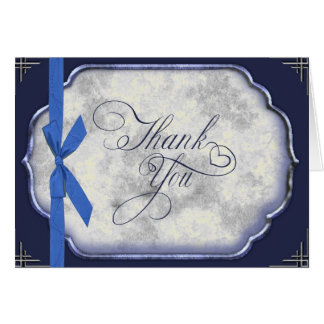Love Story Blue Wedding Thank You Card