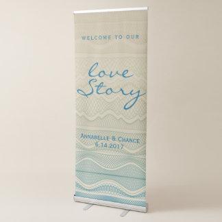 Love Story Tan | Blue Wavy Line Beach Wedding Retractable Banner