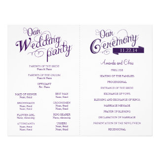Love Story Wedding Program Flyer-Purple 21.5 Cm X 28 Cm Flyer
