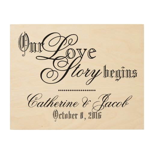 Love Story Wedding Sign Wood Canvas